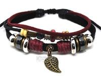 A0311 Punk Vintage Antique Bronze Leaf Pendant Genuine Leather Bracelets Charms Free Shipping 50pcs/lot