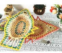 Desktop Box Green Fish Pad Key Basket Corn Husk Straw Storage Basket  Handmade Storage Box Sundries Braid  Pastorable Ratten