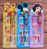 Office & School Educational Supplies Stationery set (2 Pencils+Sharpener+Eraser+Ruler) Cute Cartoon Design, Birthday Gift Kids