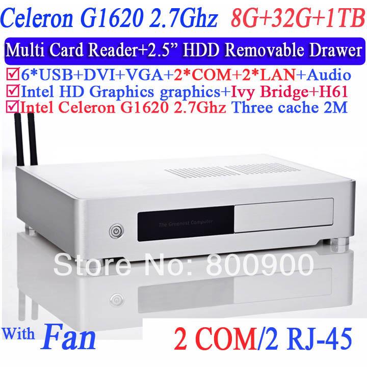 2014 Newest Mini PC ThinClient Mini Computer celeron g1620 with IVB Bridge Intel H61 2 LAN 2 COM DVI port 8G RAM 32G SSD 1TB HDD(China (Mainland))