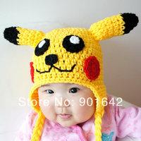 1PC Retail Crochet Pikachu Hat, Pokemon, Crochet Baby Children Beanie Yellow with earflap 3 Size For Choice