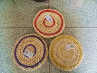 Corn Husk Circle Round Big Mat Pot Holder Pad Coasters Handmade Knitted Mat Cushion Rattan Coasters Anti-hot Eco-friendly Round