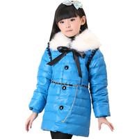 2013 female child down coat medium-long female child PU down coat fur collar