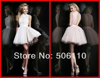 Custom Made Attractive Short Pink Ball Gowns Cap Sleeve High Collar Open Back Lace Appliques Mini Grade Graduation Dresses Hot