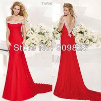 2014 Designer Neck Short Sleeves Open Back Sequins Beaded Mermaid Elegant Evening Gowns Dresses New 1473