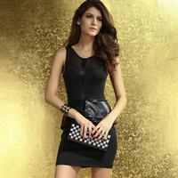 2014 New Summer Women Sheer Mesh Insert Black Faux Leather Accent Peplum Workwear Mini Ruffles Dress HF2815 Free Shipping