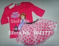 2014 TUTU set Branded Girl Clothing Sophie Princess skirts long sleeve cake skirt set sofia the first girls t shirt set 2-6Y