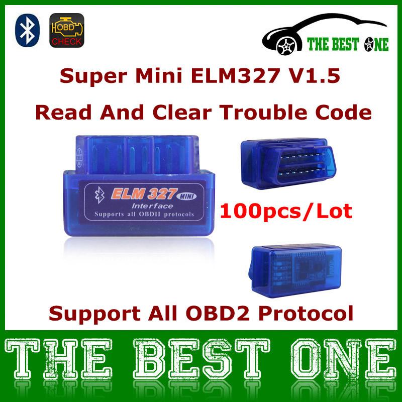 Wireless OBDII Bluetooth Scanner Super Mini ELM327 Android Diagnostic For All OBD-II Compliant Car Mini ELM 327 OBD2 V1.5 100pcs(China (Mainland))