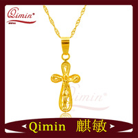 2014 new fashion high quality personalized cross -shaped gold pendant necklace