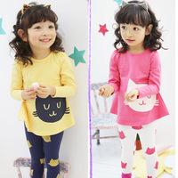 2014 baby sets small cat girls clothing baby child long-sleeve T-shirt legging set  free shipping