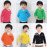 2014 Best Selling Children's Cardigan jacket Boy V-Neck screw thread Coat Rei Kawakubo Solid Cotton T-shirts