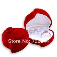 Velvet Ring Box, heart shape, wedding design, Velveteen Rings Jewelry Display Box, for couple rings, sold by 10pcs/lot)