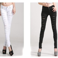 1pc/lot 2014 Spring Korean Style Black/White Cut-out Punk Style Ripped Woman Jeans Personality Trousers Plus Size S-XXL AY654609