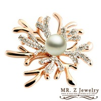 Spring 2014 New Christmas Flower Brooch Crystal Wedding Pearl Brooches 10pcs/lot Free Shipping