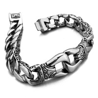 Hot sale Silber Dragon Chain 316L Stainless Steel Boy's Bracelet Silver Tone mens boys bracelet  ,Free Shipping B#37