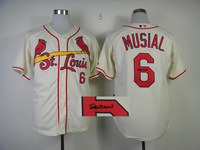 Hot Sale Signature Edition Jersey #6 Stan Musial Ivory Cool Base Baseball Jersey Mix Orders,Embroidery Logos