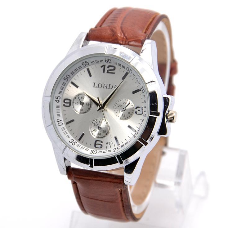 Wholesale Latest Design High Quality Leather Strap Watch Men Fashion Sports Quartz Wrist Casual Watch londa-23(China (Mainland))