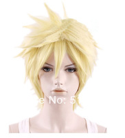Final Fantasy VII 7 Cloud Strife Short Golden Blonde Cosplay Hair Wig free shipping