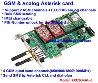 AXE2G4AN BASE PCI-E Asterisk card 2 GSM channels and 4 FXO or FXS analog channels hybrid card For Mobile PBX,GSM VoIP gateway