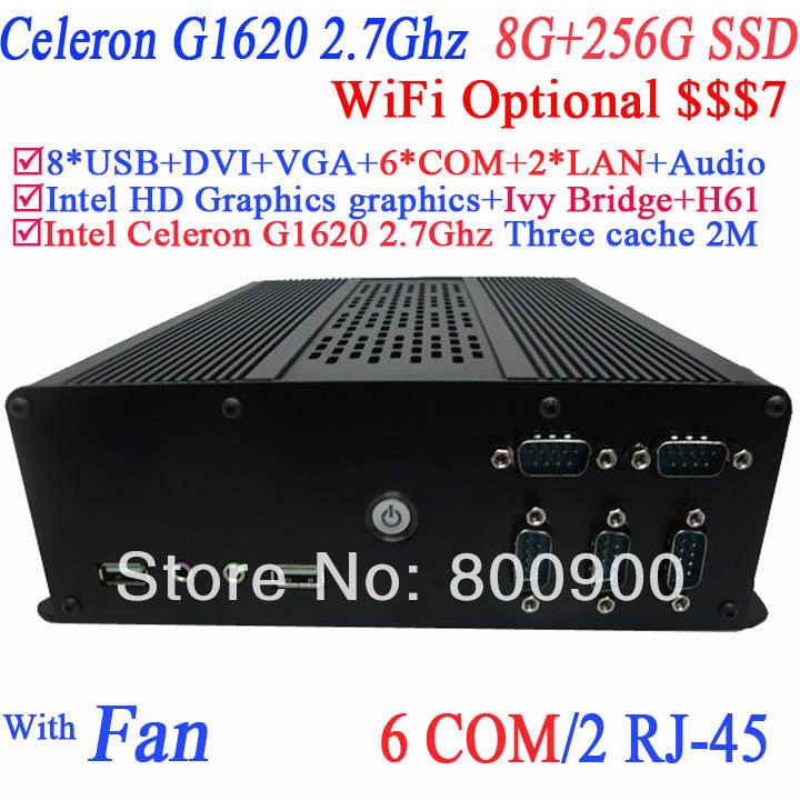 The Newest Mini Computer Thin Client PC with 6 COM 2 LAN Intel dual core Celeron G1620 2.7GHz CPU 8G RAM 256G SSD Mini-ITX PCs(China (Mainland))