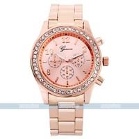 Geneva Women Rhinestone watch/Relogio Rose gold geneva watch stainless steel with diamond Woman Fashion Luxury Free ship reloj