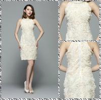Free shipping 2014 solid round neck sleeveless flower dress dress Slim child CT7317