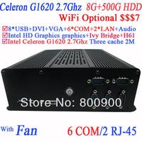 Good Quality Mini PC Computers PC Station with 6 COM 2 LAN Intel dual core Celeron G1620 2.7GHz CPU 8G RAM 500G HDD Mini-ITX PCs
