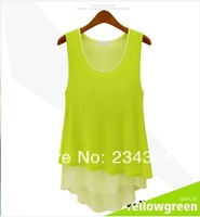 New summer candy color chiffon stitching false two skirt unlined upper garment joker condole belt vest