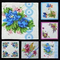 Handkerchiefs women cotton hankies with pretty flower 10pcs /lot handkerchief ladies hanky pocket square  28*28cm free shipping