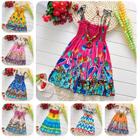 Retail Summer 2014 new girl dresses pretty princess flower sleeveless dresses fashion beach style little girl one-piece dresses