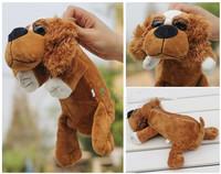 Super cute 1pc 25cm nici brown big eyes dog plush school creative pen bag pencil case toy children gift