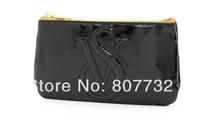 High Quality Fashion Lady Cosmetic Bag Make-Up Bag Hand Bag, 16.5*8.5*1cm Black Soft PU