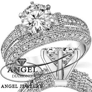 9K Set 1.5 Carat NOCM Lab Grown Diamond Ring Milgrain Wedding Set Wedding Ring Set Engagement Ring Set Forever Brilliant(China (Mainland))