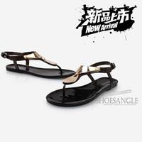 New Designer 2014 Women Summer Sandals Shoe Flat Heel Flip-Flop Sandal Plus Size Beach Zoris Sandals Crystal Jelly Shoes