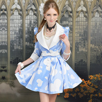 Free Shipping Pink Doll Brand Trench 2013 blue white satin of love slim waist expansion bottom half sleeve trench