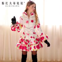 Free Shipping Pink Doll Brand Female winter down coat rose print slim a long design down coat