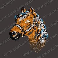 Horse Iron On Transfers Rhinestone Head Iron On Hot Fix Crystal Appliques Iron On Motif  30Pcs/Lot Free Dhl Shipping