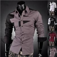 2015New Men's Fashion Cotton Designer Cross Line Slim Fit Dress Man Shirts Tops Western Casual Slim Shirts 4 Colors M~XXXL