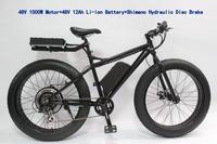 2014 New Fat Tire Electric Bike 48V 1000W Beach Cruiser Ebike+Hydraulic Disc Brake+LCD Display+48V 12Ah Li-ion Battery