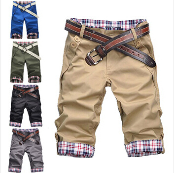 Free shipping Hot-sale 2014 summer buckle fold mouth design fashion men's short cultivate morality leisure seven pants ten color(China (Mainland))