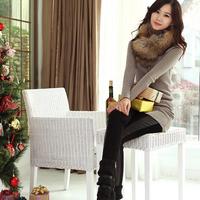 2014 sz 100% cotton patchwork faux leather sz all-match women's skinny pants pencil pants