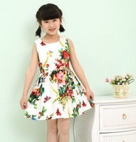 Wholesale 2014 New European and USA style dress girl, floral print baby girls dress kids dress 2-10Y ,children clothing 5pcs/lot
