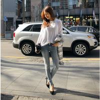 2014 women's jeans plus size jeans casual pants women's