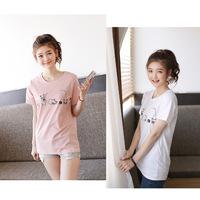 2014 summer model 100% loose cotton long design short-sleeve t-shirt female