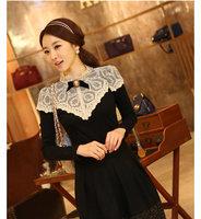 High quality lace shirt long-sleeve top laciness stand collar slim elegant princess t-shirt g35
