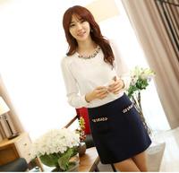 High quality long-sleeve shirt top shirt 2013 autumn women's chiffon shirt g30