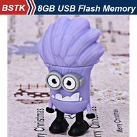 Creative Wholesale 4GB 8GB 3D Despicable Me 2 Evil Minions USB flash Memory Drive Pen U Disk Gift Free Shipping