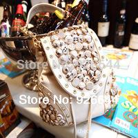 2014 new handbag wholesale Korean fashion buttons diamond retro boom bag tassel bag diagonal package free shipping#3372