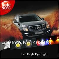 Free Shipping 2 PCS Car DIY 1.8Cm 6W Waterproof Led Eagle Eye LED Daytime Running/Brake Lamps /Tail Lights Red/Blue/White