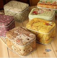 Free shipping 6pcs/lot New Arrival!Zakka Europe type Square Storage Tin Box Candy Box Vintage Gift box 10.5x8cmx6cm
